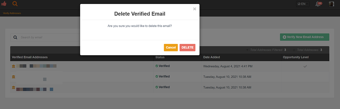 delete valid email