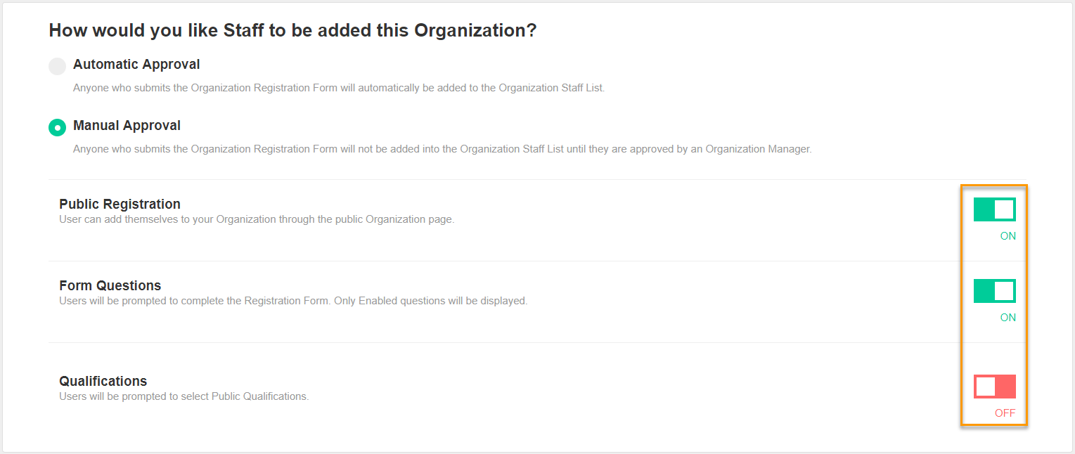 Org Recruitment Settings